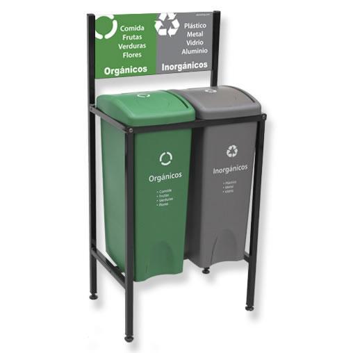 Contenedor de Reciclaje para basura 2 divisiones cancun mexico