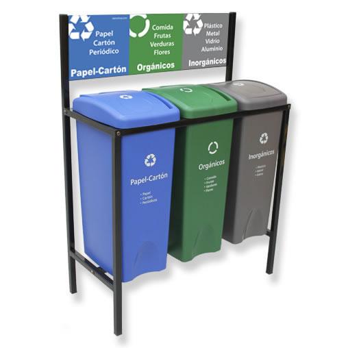 Contenedor de Reciclaje para basura 3 divisiones cancun mexico