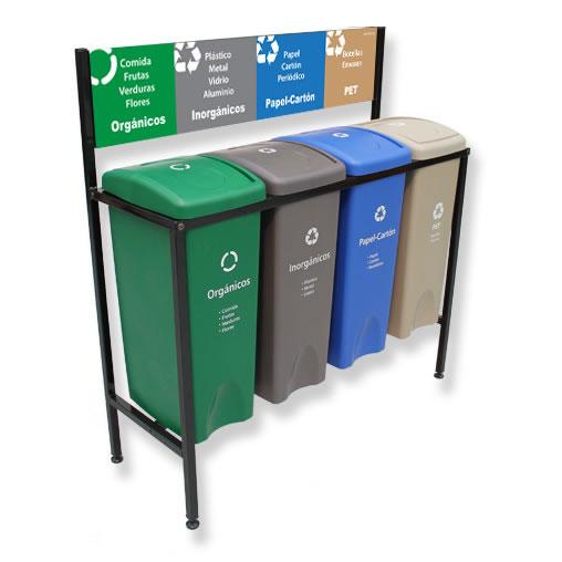 Contenedor de Reciclaje para basura 4 divisiones cancun mexico