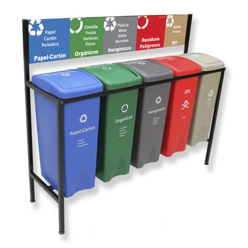 Contenedor de Reciclaje para basura 5 divisiones cancun mexico